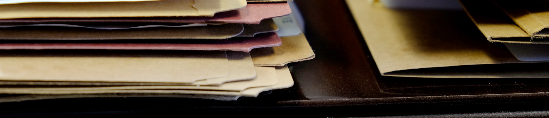 Stack of paper file folders