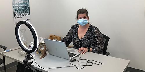 Christina Sydorko, Educational Program Coordinator with the Oil Museum of Canada conducts Live Virtual School Program.