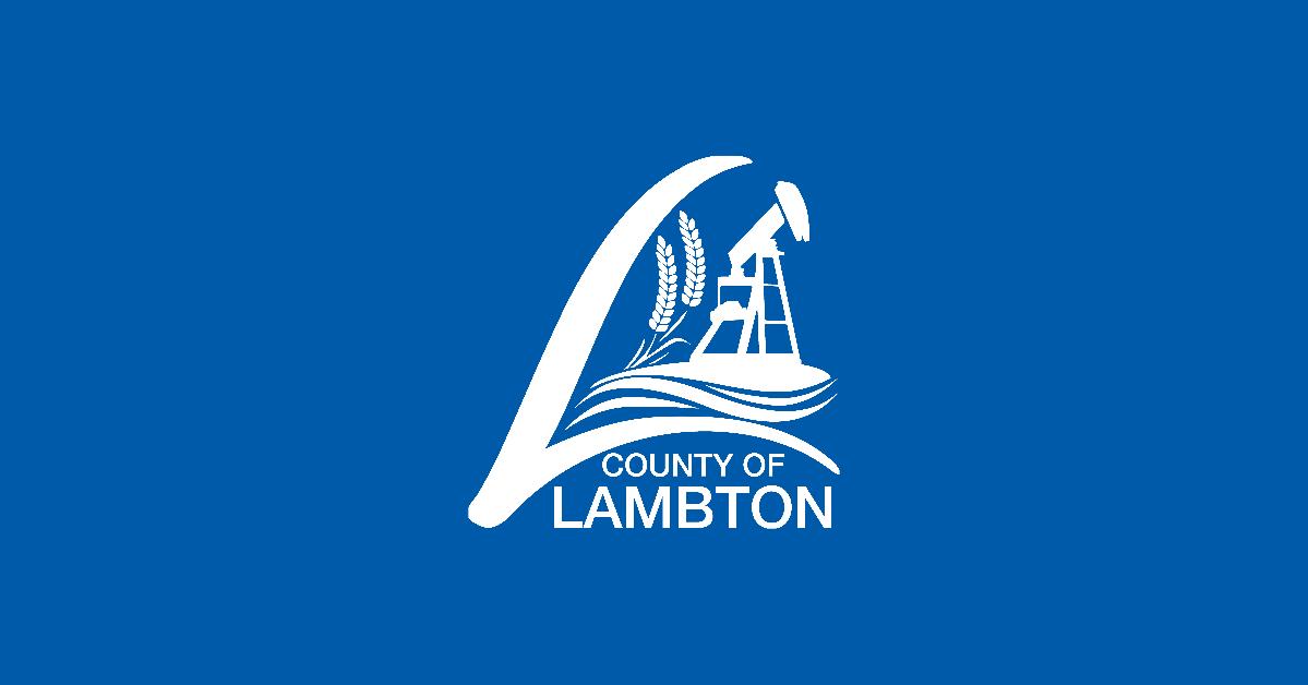 Lambton County Logo on blue background