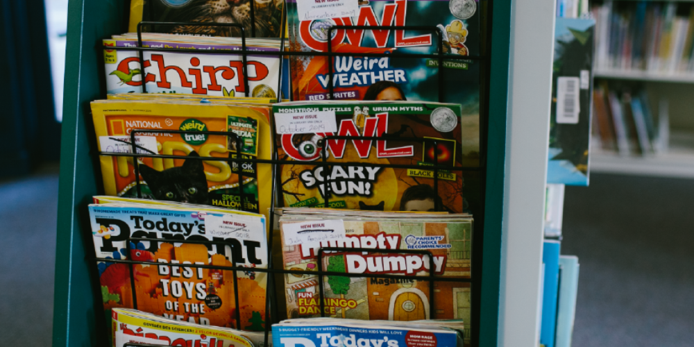 Magazines in rack at library