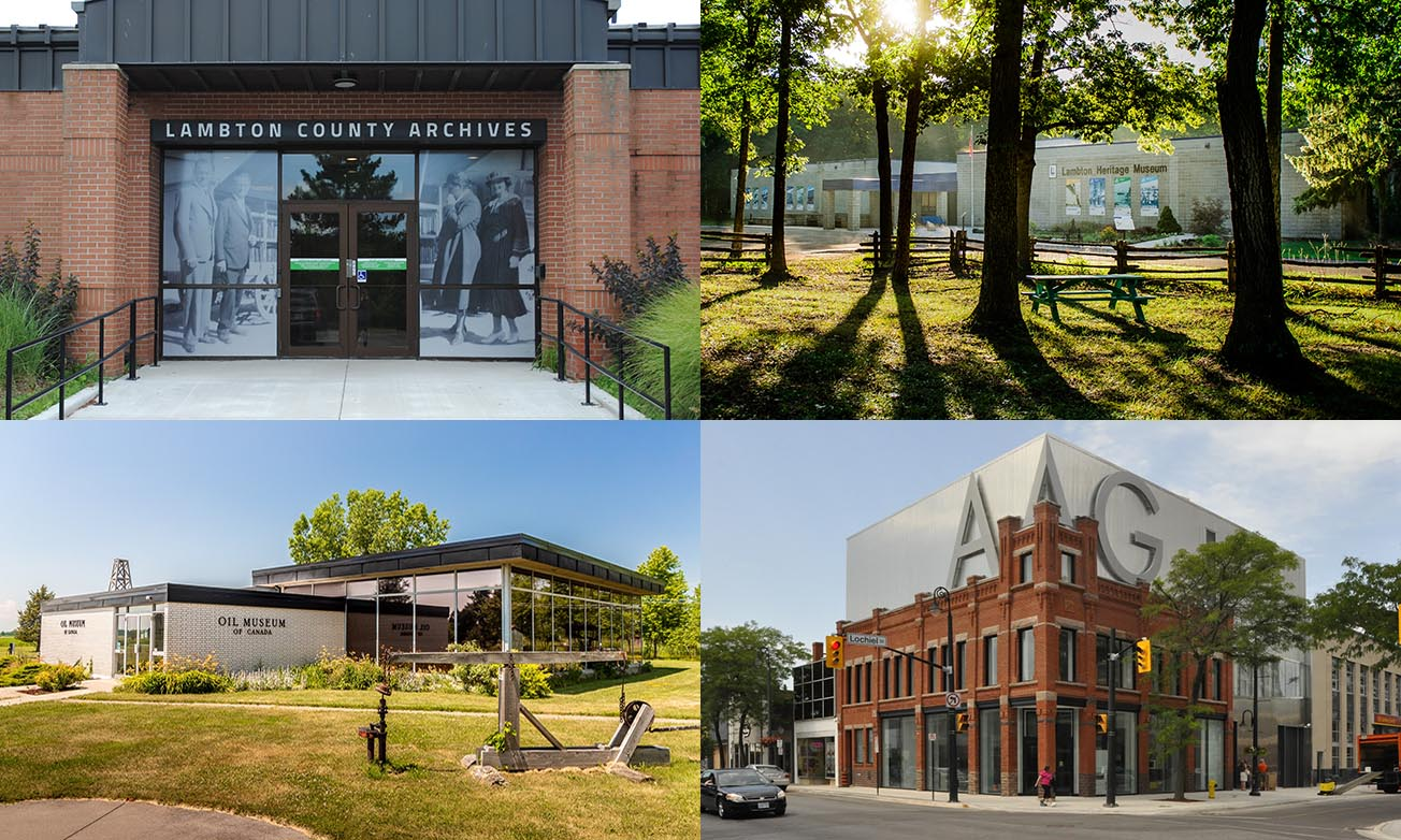 Collage of Lambton Heritage Museum, Oil Museum of Canada, Judith & Norman Alix Art Gallery and Lambton County Archives