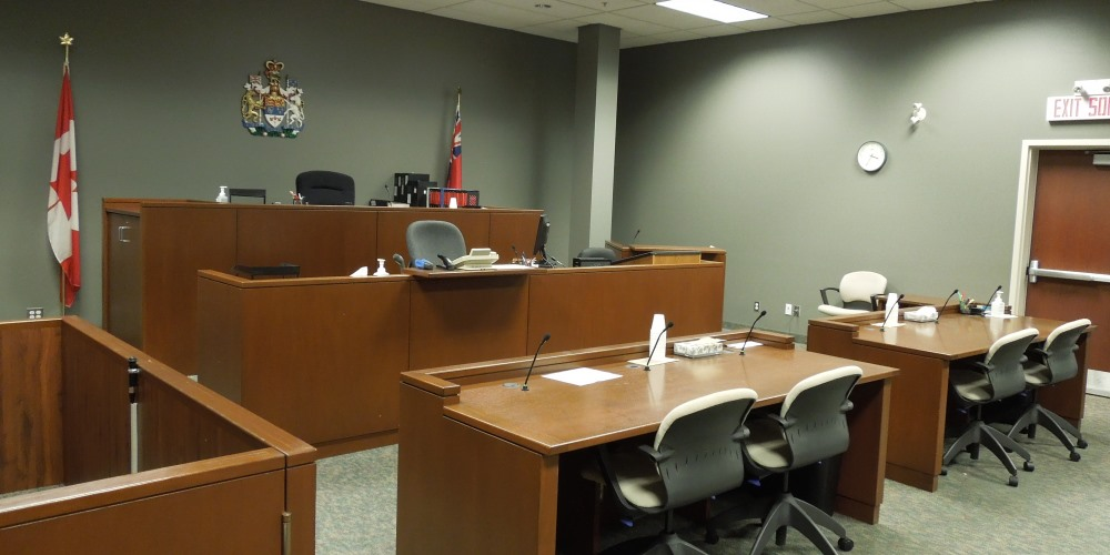 Empty provincial offences courtroom