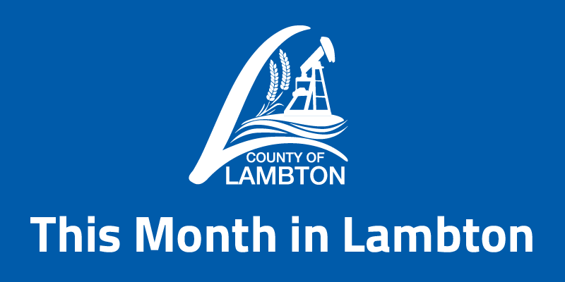 Lambton County Logo and This Month in Lambton on blue background